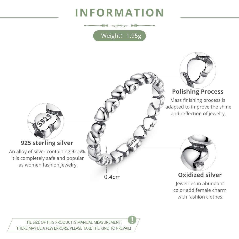 Bamoer аутентичные 925 100% твердых навсегда в форме сердца любовь палец кольцо оригинальный годовщина ювелирные изделия PA7108