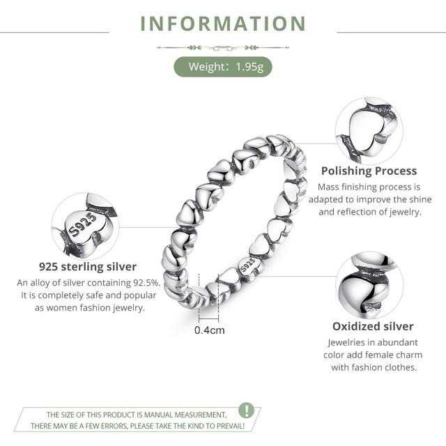 Bamoer real  925 Sterling Silver Forever Love Heart Finger Ring Original Jewelry Gift GLOBAL SHOPPING FESTIVAL 2019 PA7108 1
