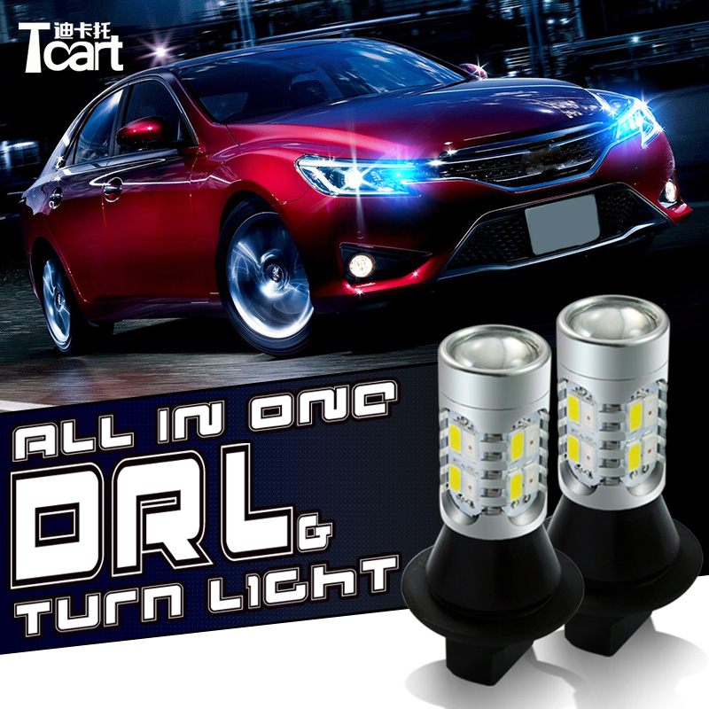 Tcart For toyota Prius 2008-2014 LED DRL Daytime Running Lights DRL&Front Turn Signals all in one tcart 1set new auto led bulbs car led drl daytime running lights turn signals cob 30w lamps t20 wy21w for toyota prius 2006 2010