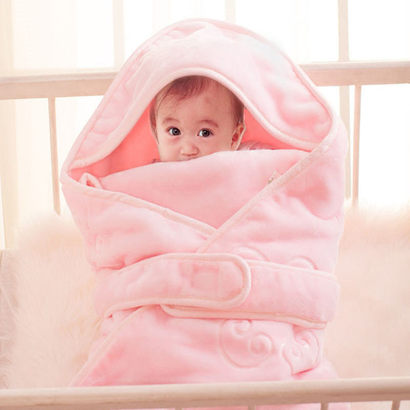 Baby Blanket Envelope Winter Thick Warm Hooded Newborn Swaddle Sleeping Bag Infant Bedding Baby Receiving Blanket elodie details removable liner baby infant swaddle blanket 100