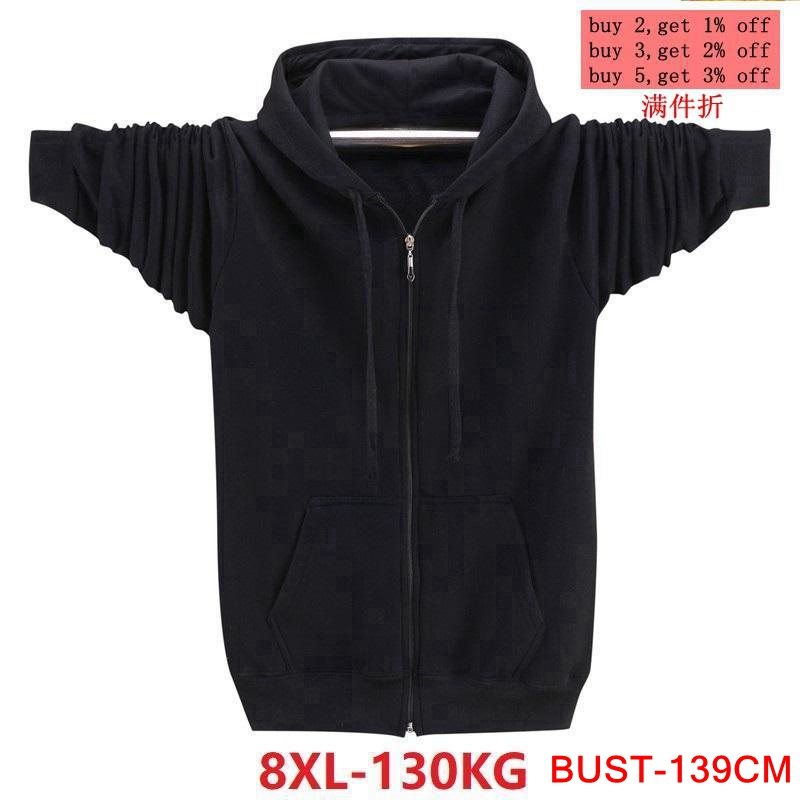 Autumn And Winter Men's Large Size Hooded Sweatshirt Long Sleeve Zipper 5XL 6XL 7XL 8XL Cool Running Warm Cotton Large Size Blac