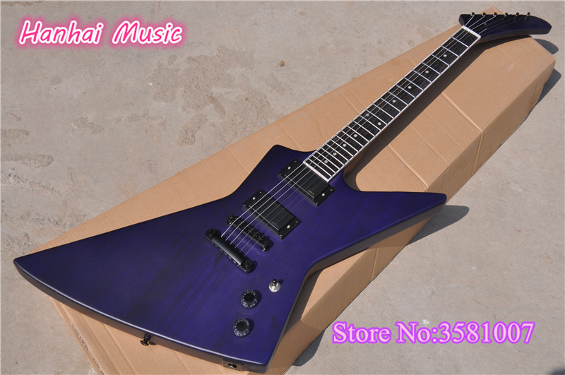 6 string electric guitar unusual shape mahogany body purple color body neck and headstock can be. Black Bedroom Furniture Sets. Home Design Ideas
