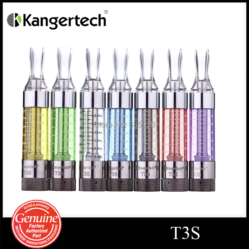 Original Kanger T3S Atomizer 3.0ml Capacity Electronic Cigarette Changeable Bottom Coil Heating Atomizer with 7 Colors