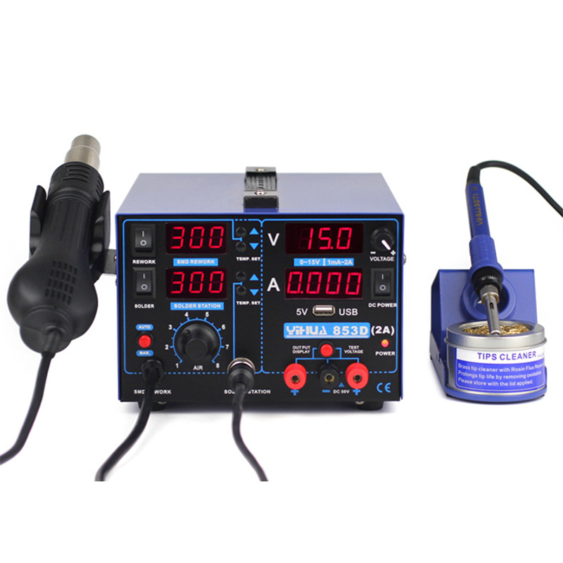 Tools : YIHUA 853D 2A Soldering Station 3IN1 SMD Soldering Iron Hot Air Gun With 15V 2A USB DC Power Supply BGA Welding Repair tools