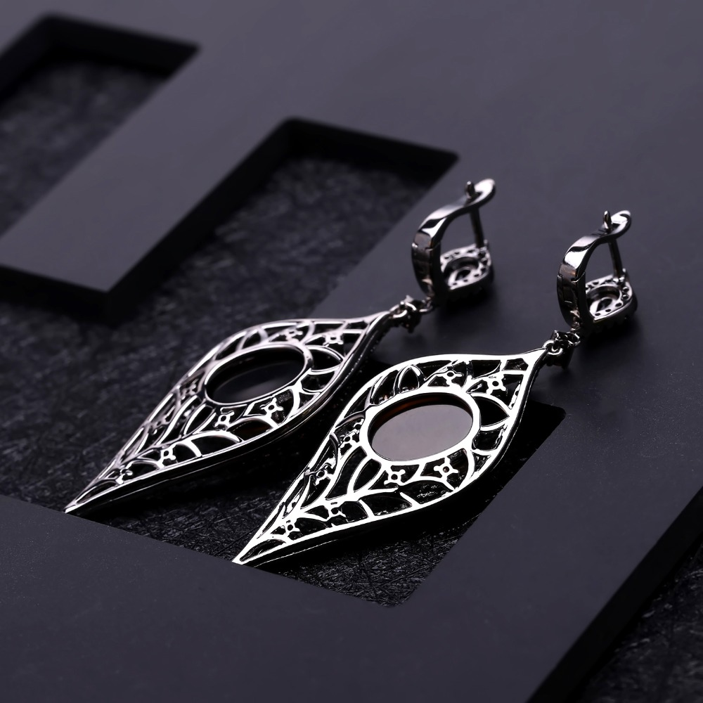 GEM'S BALLET Natural Smoky Quartz Vintage Gothic Punk Jewelry Set 925 Sterling Silver Earrings Ring Set For Women Fine Jewelry