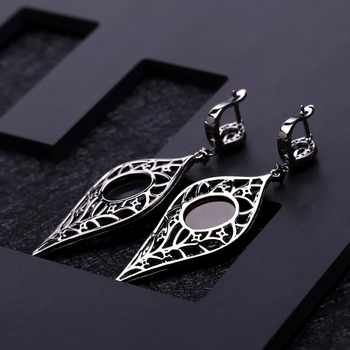 GEM\'S BALLET Natural Smoky Quartz Vintage Gothic Punk Jewelry Set 925 Sterling Silver Earrings Ring Set For Women Fine Jewelry
