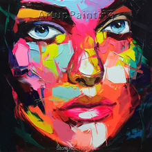 Palette knife painting portrait Face Oil Impasto figure on canvas Hand painted Francoise Nielly 16-14