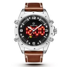 9234abc1d78 GOLDENHOUR Marca de Topo Do Esporte Da Forma Relógios Homens Analógica LED Relógio  de Quartzo Homem De Couro À Prova D  Água Mil.