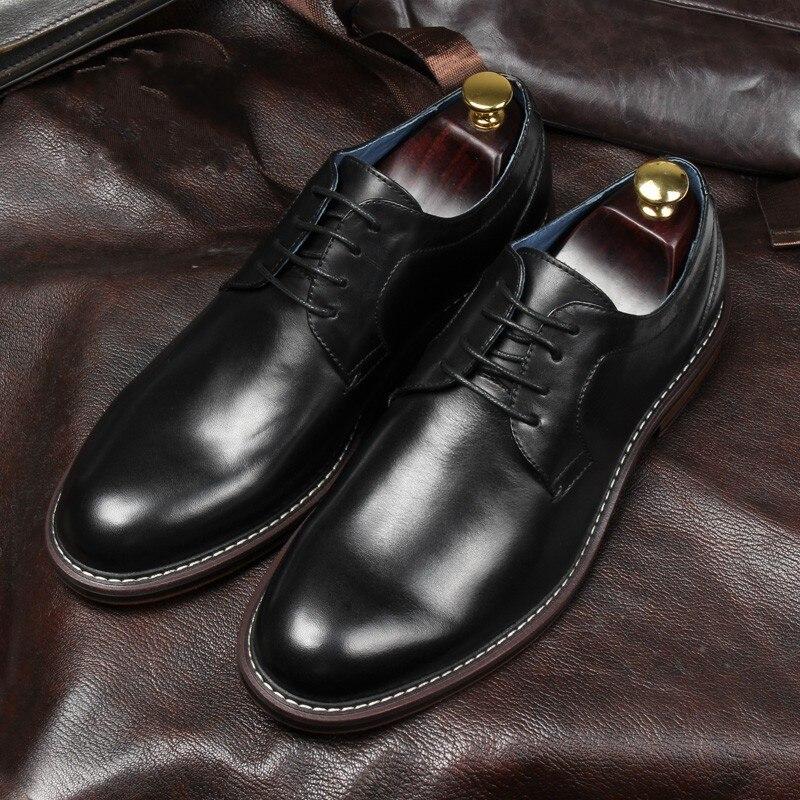 Style britannique hommes Goodyear chaussures en cuir à la main talon plat dentelle hommes chaussures d'affaires formelles - 3