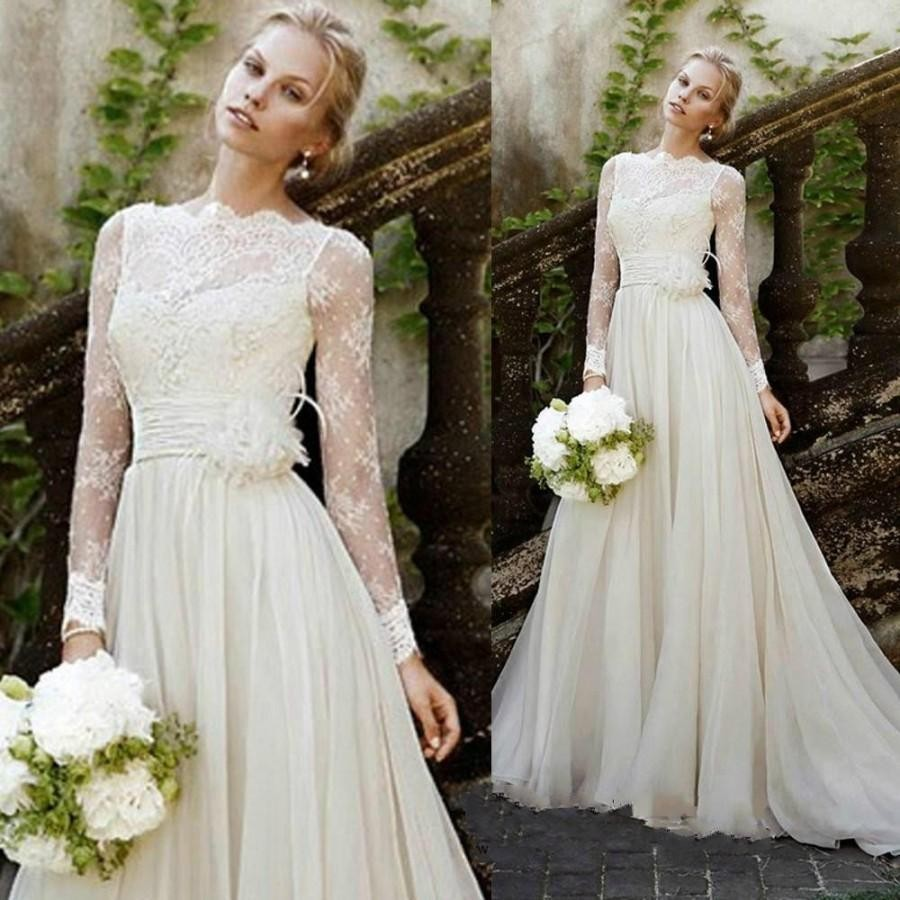 Long Beach Wedding Dresses Lace Bateau Neck Long Sleeves With Handmade Flower Decorated A Line Lace Chiffon Bridal Gowns