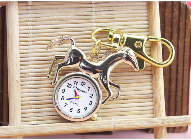 Fashion Picture gold silver Cute Horse Pocket Watch key chain Silver Women Ladies Girl Watches Good Quality