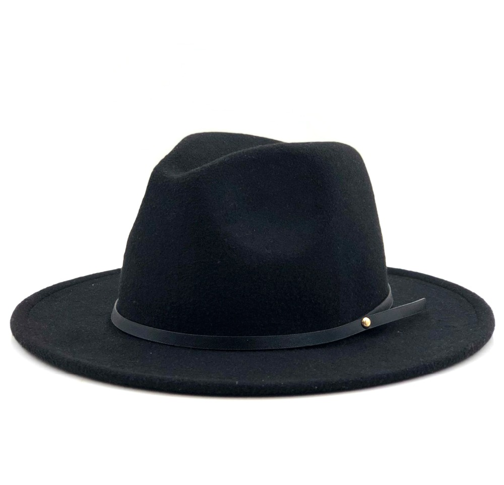 Women Men Wool Vintage Gangster Trilby Felt Fedora Hat With Wide Brim