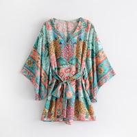 TEELYNN boho Women Playsuits 2018 Floral Print V Neck sexy backles Kimono sleeve Summer jumpsuit romper beach wear jumpsuit