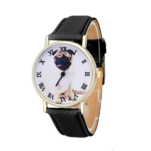 Newly Design dames horloges Dog Pug Watch Women Girl PU Leather Quartz Wrist Wat