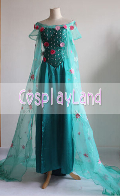 Movie Princess Elsa Snow Queen Cosplay Costume Dress Custom Made Elsa Princess Party Dress for Adult Women