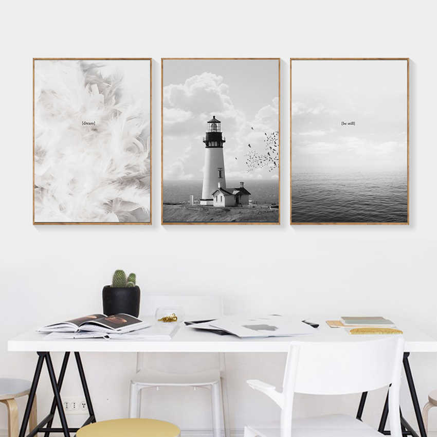 Lighthouse Landscape Hd Print Canvas Paintings Nordic Home Decoration Feather And Sea Wall Art Pictures For Living Room Posters