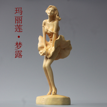 China boxwood carving hand sexy goddess Monroe nude beauty body art crafts