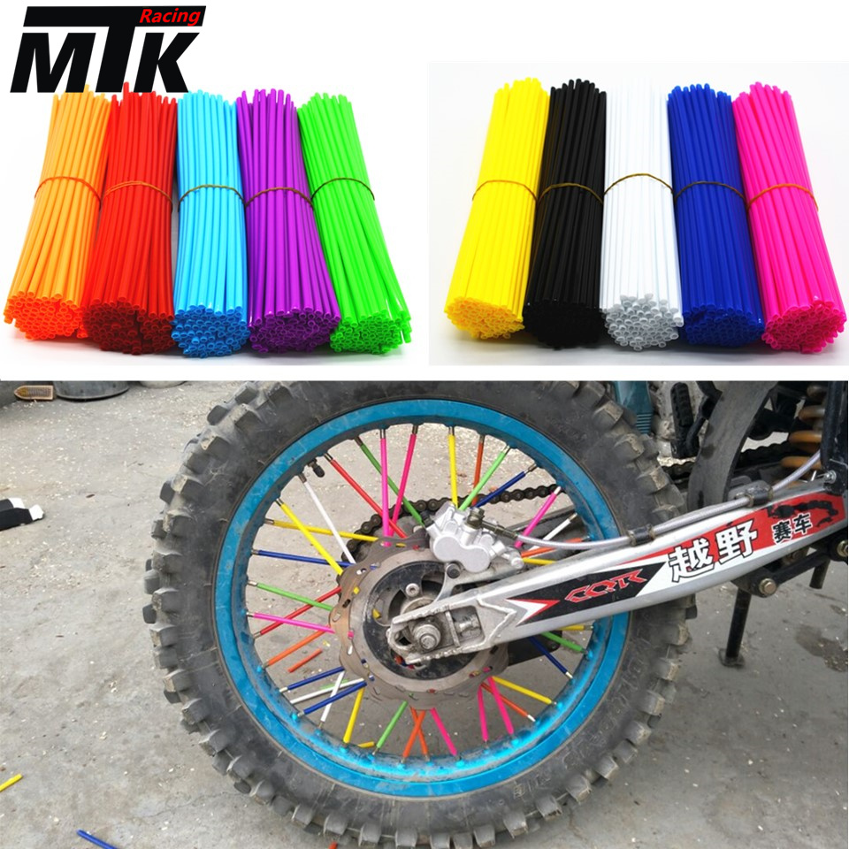72Pcs Motorcycle Wheel Rim Spoke Skins Covers Wrap Tubes Decor Protector Kit For ktm CR YZ RM KX 80 125 250 450 500 CRF YZF RMZ motocross dirt bike enduro wheel rim spoke shrouds skins covers wr250 for ktm kx85 exc450 for kawasaki kx 500 crf yzf rmz kxf