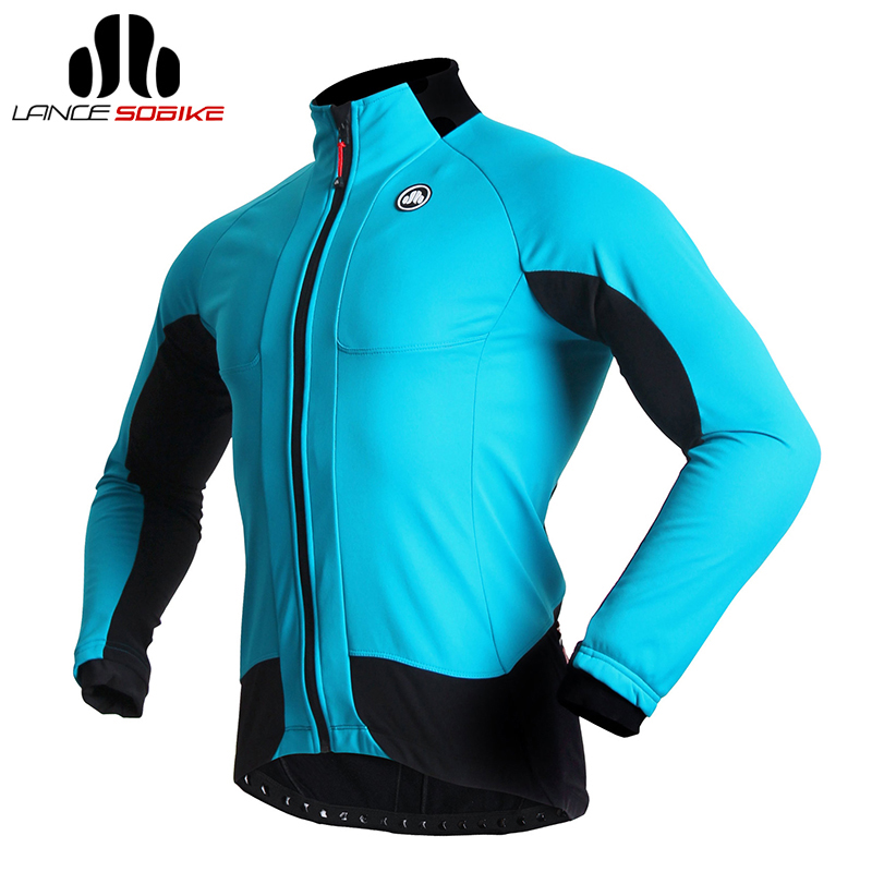 SOBIKE Cycling Clothing Fleece Thermal Blue Men's Long Sleeve Jersey Bicycle Jacket -Tiger Shark S-4XL lance sobike bicycle new jersey cycling fleece thermal men long winter jacket cook mtb windproof outdoor sport cycling clothing