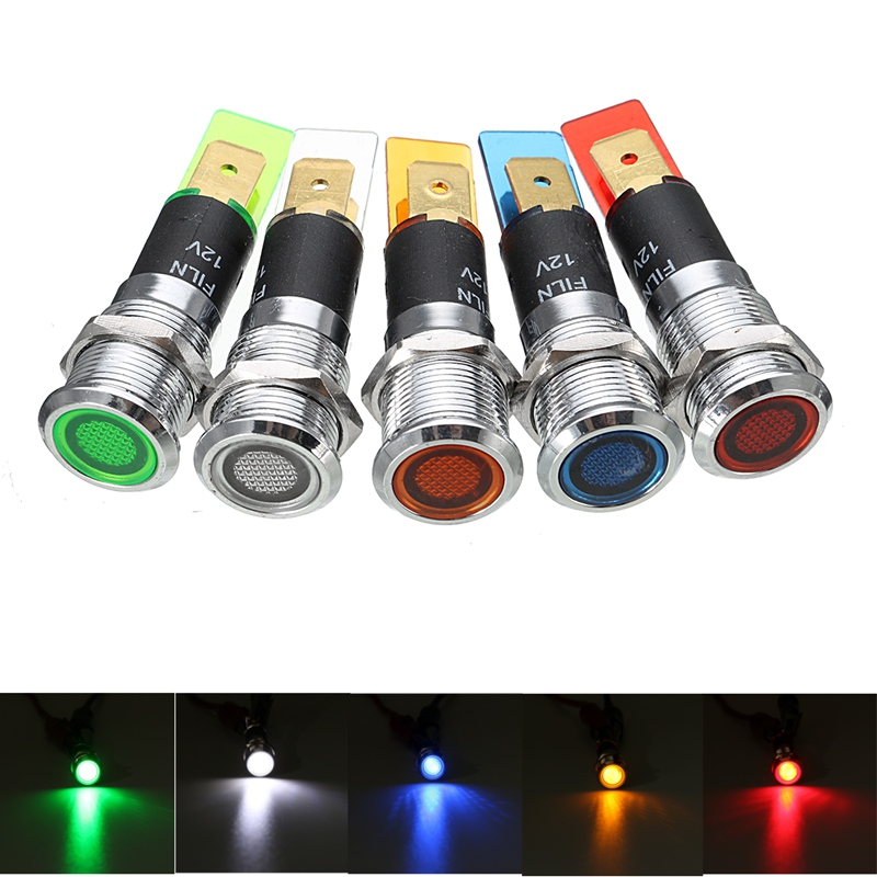 1Pcs Metal 12mm LED Panel Pilot Dash Directional Light Indicator Lamp Warning Lights Waterproof Car Truck Boat
