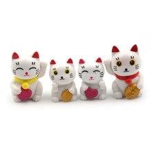 4 pçs adorável bonito dos desenhos animados gatos sorte micro paisagem gatinho microlandschaft pote ferramentas de cultura jardim decorações miniaturas