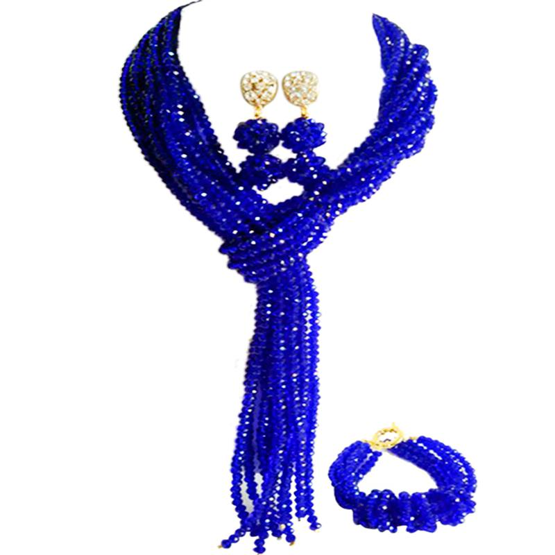 Gorgeous Royal Blue Crystal Beaded Women Bridal Jewelry for Engagement 10C-WJ-06 gorgeous faux crystal colored ring for women