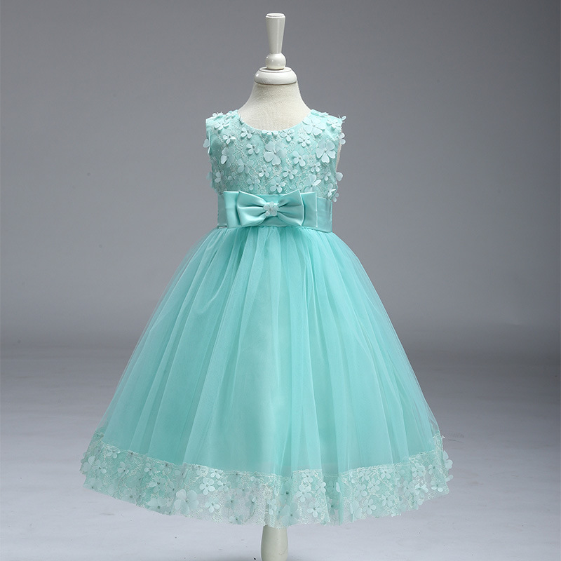 Fashion Flower Girls Dress Bow Tie Champagne Wedding Pageant 2018 Summer Party Dresses