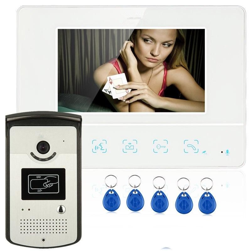 """Проводной """" цветной видеодомофон дверной звонок Домашняя безопасность 1 rfid-камера 1 монитор"""