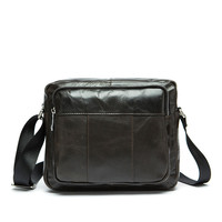 100% Natural Oil Wax Genuine Cow Leather shoulder bag Vintage Casual Men Messenger Bags