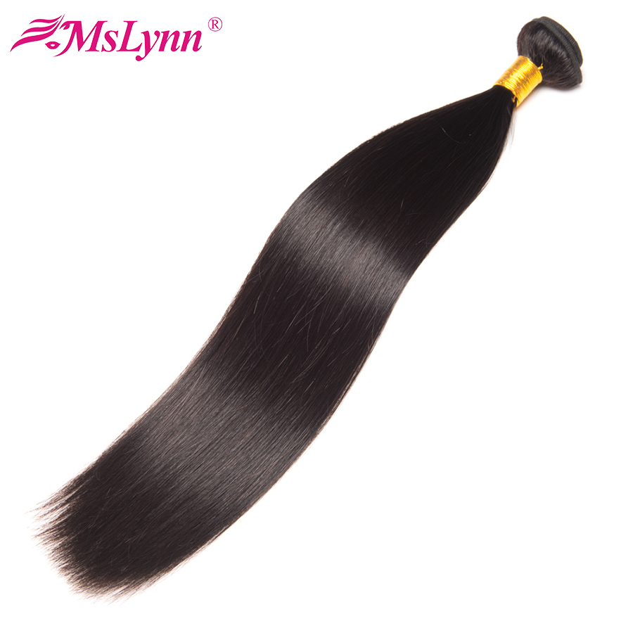 Mslynn Straight Hair Bundles Brazilian Hair Weave Bundles 100% Human Hair 1 PC Non Remy Hair Extensions 10-28 Natural Black