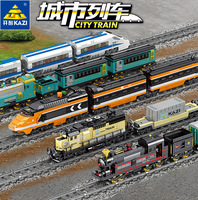 Electric Railway and Station Blocks Building Train City Train Series Children DIY Toy Boy Toys Friend's 98223 98227 Can Drive!!
