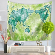 Polyester Wall Hanging World Map Tapestry Colorful World Map Tapestry Wall Blanket Bedspread Home Dorm Living Room Decoration