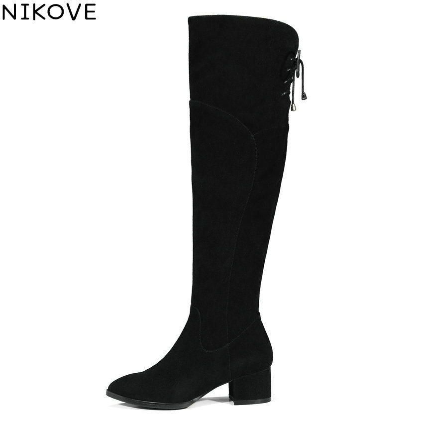 NIKOVE 2018 Lace Up Women Snow Boots Warm Fur Over The Knee Boots Cow Suede+ Scrub Ladies Square High Heels Shoes Size 34-39 ribetrini 2017 fashion cow suede turned over edge ankle snow boots sewing warm fur platform low flat women shoes size 34 39
