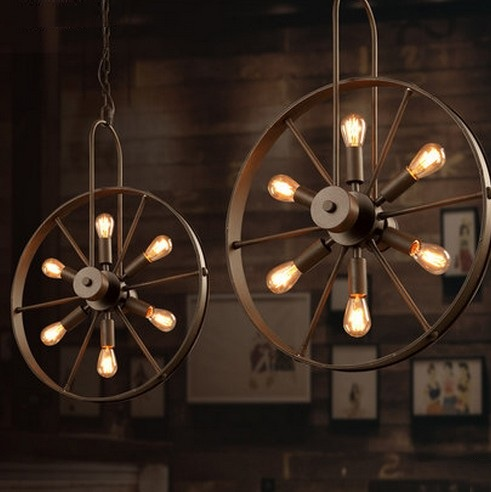 Loft Style Windmill Wheel Droplight Edison Pendant Light Fixtures For Dining Room Hanging Lamp Vintage Industrial Lighting loft style metal industrial droplight edison vintage pendant lights fixtures for bar dining room hanging lamp lighting lampara