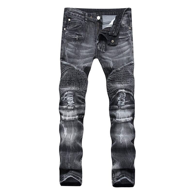 Mens Jeans Streetwear Men Slim Fit Denim Jeans Clothes Fear of God Hole Gloria Jeans Hip Hop Plus Size Casual Black Male Pants