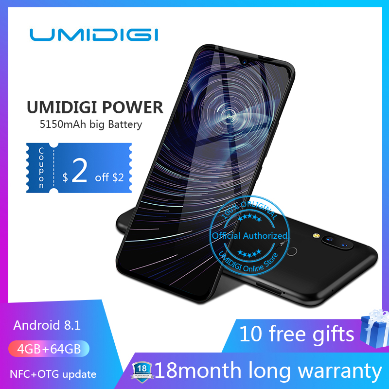 "Umidigi power 6.3"" 4GB 64 ROM Mobile phone Octa Core Android 9.0 16MP+16MP Cell phone NFC 4g 5150mAh unlocked smartphone gsm"