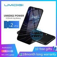Umidigi power 6.3 4GB 64 ROM Мобильный телефон Octa Core Android 9.0 16MP + 16MP Мобильный телефон NFC 4g 5150 мАч разблокированный смартфон GSM Нет блокировки восемь основ