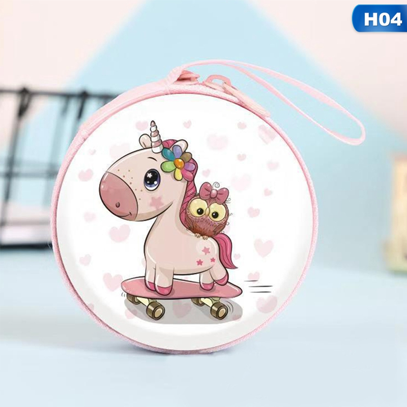 New Women Kawaii Mini Bag Cartoon Unicorn Coin Purse Cute Children Kids Girls Wallet Earphone Organizer Box Bags Christmas Gift