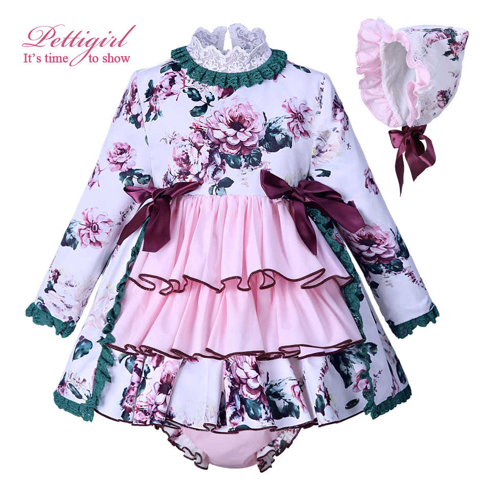 Pettigirl Flower Print Baby Dress For Girls Kids Pink Autumn Dresses With  Hat PP Pants Boutique 093ef0e3baca