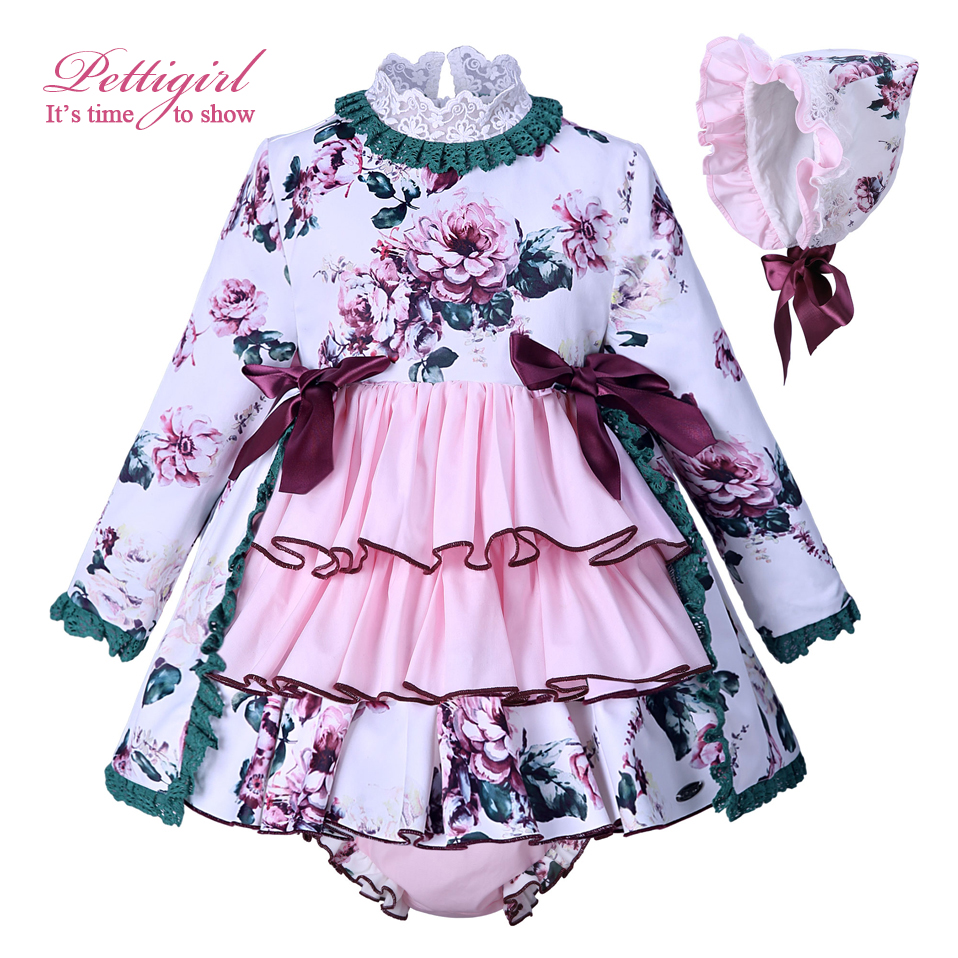 b91909bca Detail Feedback Questions about Pettigirl Flower Print Baby Dress For Girls  Kids Pink Autumn Dresses With Hat PP Pants Boutique Girls Clothing G  DMCS007 ...