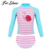 fed054a454bc6d 2 sztuk dla dzieci dziewczyny Tankini długie rękawy Flamingo drukowane  strój kąpielowy stroje kąpielowe strój kąpielowy komplet .