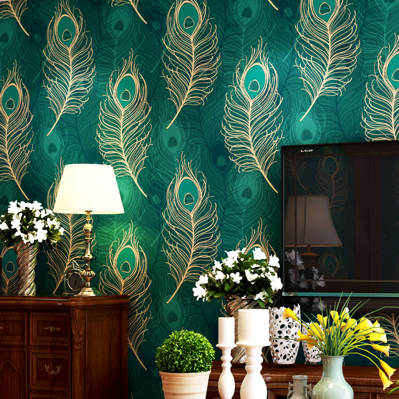 beibehang papel de parede Southeast Asian style peacock feather Chinese wallpaper bedroom living room TV backdrop wallpaper beibehang peacock deep blue feather