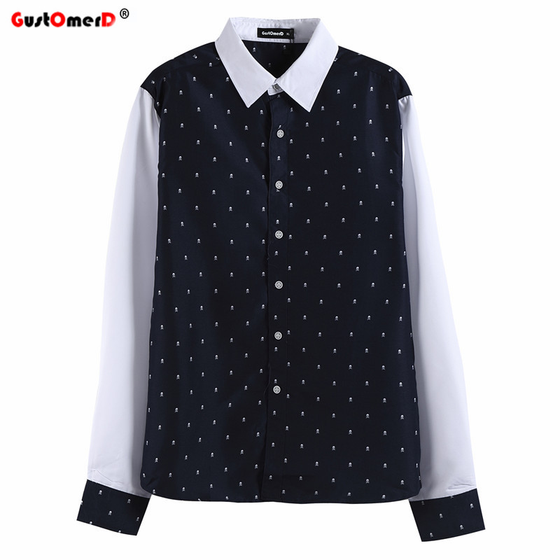 Gustomerd 2016 patchwork skull printed men shirt long for Mens printed long sleeve shirts