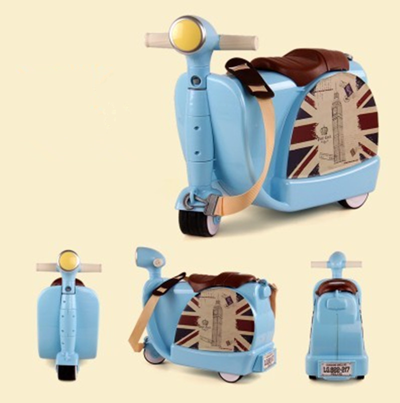 New Fashion Style Cute toy motorcycle shape Kids Children Luggage Boy and Girl Trunk Trolley case Travel Box suitcase LX009