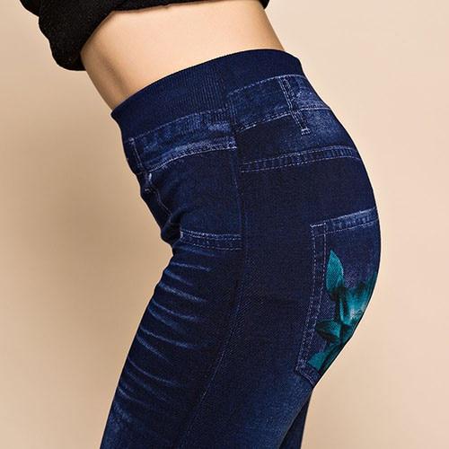 Hot New Women's Sexy Hollow Cut Elastic Pants Flower Print Skinny Jeans Denim Leggings