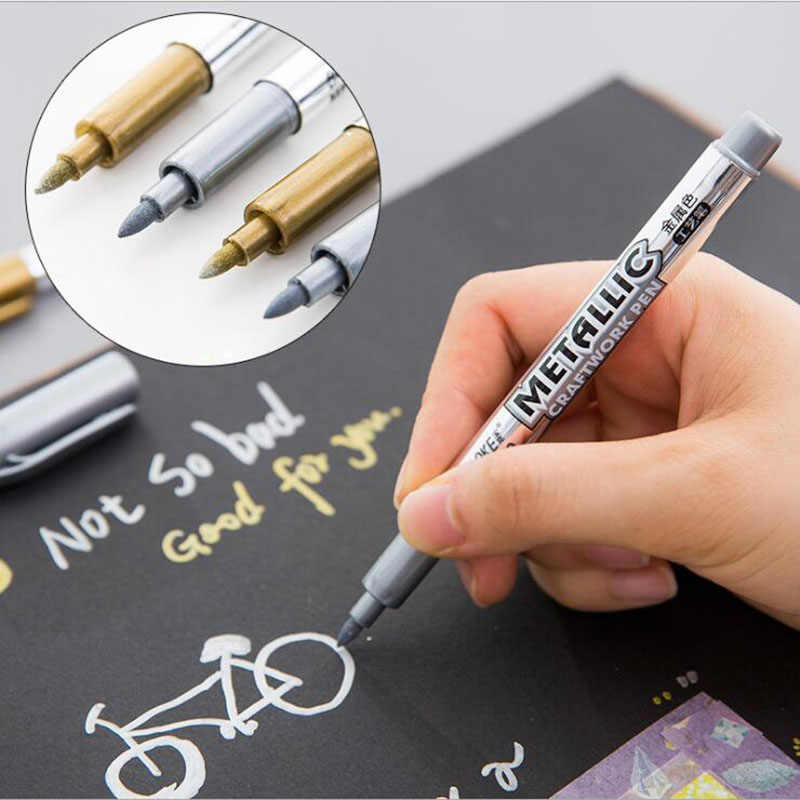 1pc DIY Metal Waterproof Permanent Paint Marker Pens Sharpie Gold And Silver 1.5mm Student Supplies Marker Craftwork Pen