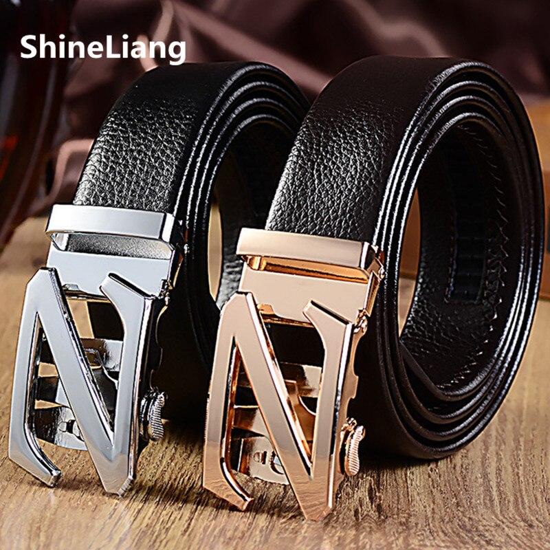 Shineliang caliente para los hombres Z logo metal hebilla automática cuero  genuino ancho 3 1a70057a5bca