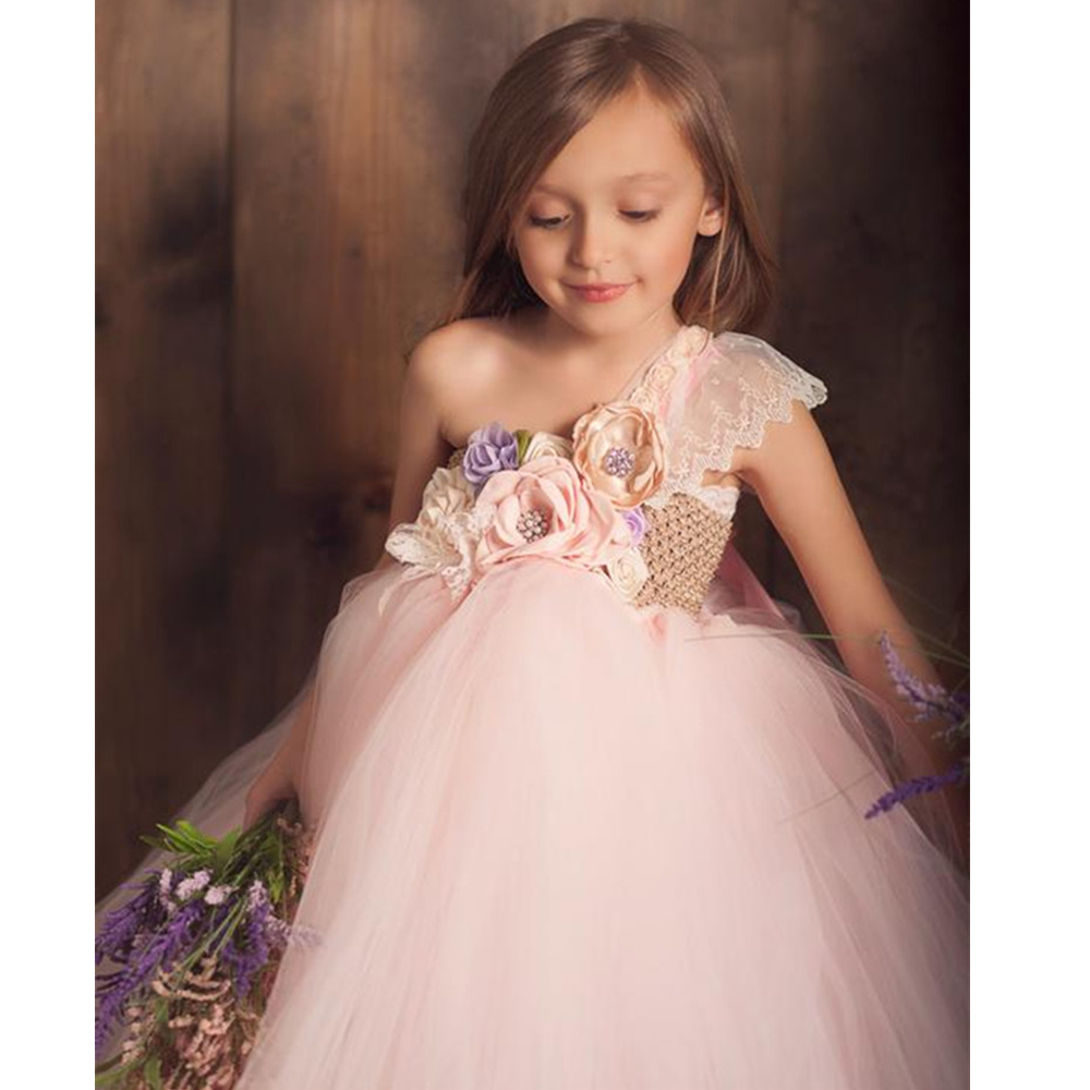 051fe04c11e78 Beige, Lilac, Blush Pink Flower Girl Tutu Dress One Shoulder Lace Princess  Ball Gown Dress for Girls Kids Party Wedding Dresses