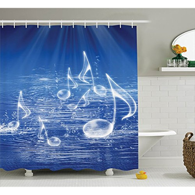 Us 15 74 10 Off Vixm Music Decor Shower Curtain Set Magical Water With Musical Notes Bubbles And Dancing Waves Fantasy Curtains In