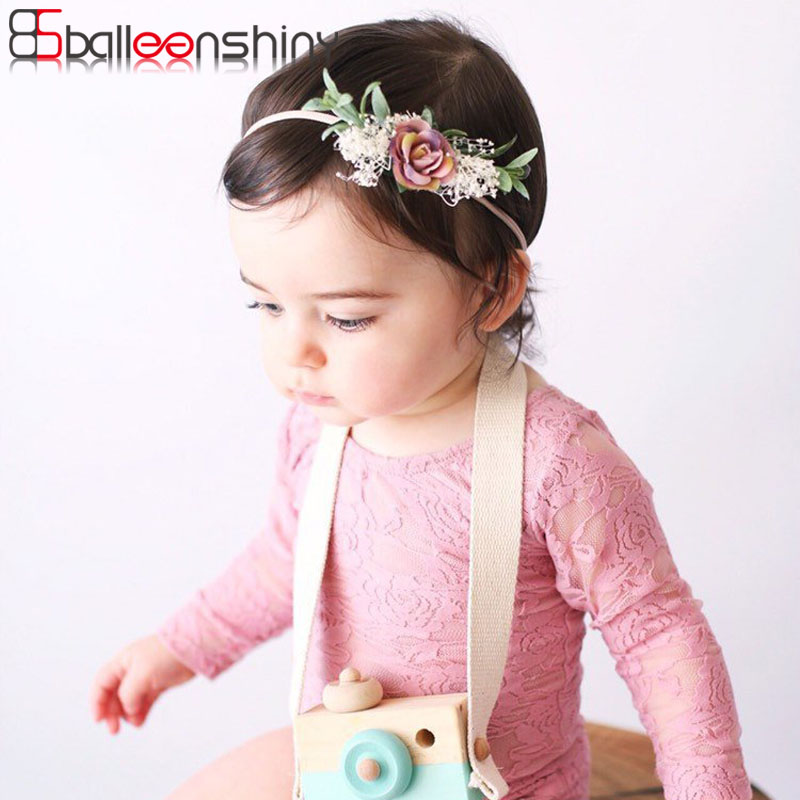 Balleenshiny Baby Girls Headband Lace Rabbit Ears Children's Wreath Infant Newborn Photography Prop Kids Birthday Party Hairband